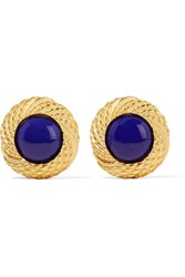 Ben Amun Gold Plated Stone Earrings Royal Blue