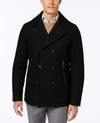 Michael Kors Men's Big And Tall Faux Leather Trim Peacoat Black