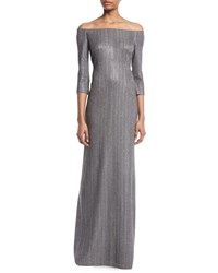 St. John Off The Shoulder Plaited Stardust Rib Knit Gown Silver