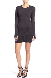 Pam And Gela Long Sleeve Knit Body Con Dress Black