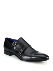 Saks Fifth Avenue Double Monk Strap Leather Shoes Black Brown