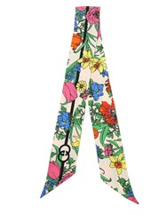 Gucci Flora And Logo Printed Silk Bow Scarf Multicolor
