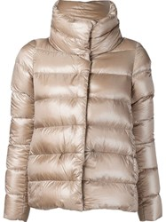 Herno Funnel Neck Padded Jacket Nude And Neutrals