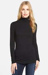 Petite Women's Halogen Long Sleeve Turtleneck Black