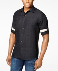 Tasso Elba Island Textured Linen Blend Shirt Black