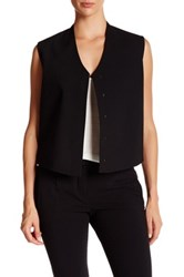 Helmut Lang Wool Blend Stretch Gabardine Cropped Vest Black