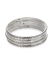 Lois Hill Sterling Silver 7 Stack Bangle Bracelets