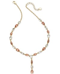 Charter Club Gold Tone Crystal And Stone Lariat Necklace 17 2 Extender Created For Macy's Rose Peach