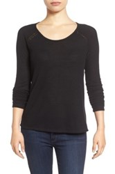 Lucky Brand Lace Trim Thermal Tee Black