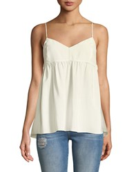 7 For All Mankind Silk Babydoll Camisole Top White