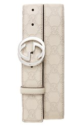 Gucci Men's Logo Embossed Calfskin Leather Belt
