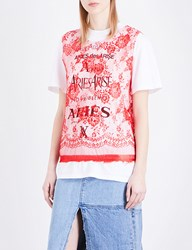 Aries Logo Print Lace Top Red