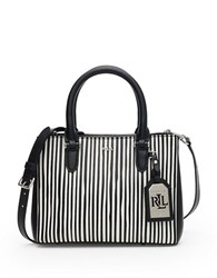 Lauren Ralph Lauren Newbury Stripe Mini Double Zip Satchel Black White