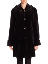 The Fur Salon Reversible Hooded Mink Coat Black
