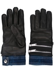Dsquared2 Dual Material Zip Gloves Black