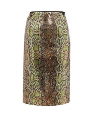 N 21 No. Fantasia Sequinned Snake Pattern Pencil Skirt Multi