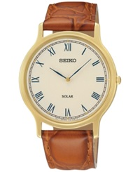 Seiko Men's Solar Brown Leather Strap Watch 38Mm Sup876