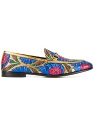 Gucci Floral Jacquard Jordaan Loafers Women Leather Metallized Polyester 40 Metallic
