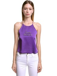 Giada Benincasa Crystal Embellished Satin Top Purple