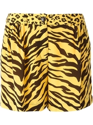 Moschino Cheap And Chic Animal Print Shorts Yellow And Orange