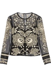 Temperley London Almas Satin Trimmed Embroidered Tulle Top Black