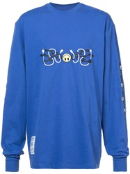 Rochambeau Tribal Smiley Long Sleeved T Shirt Blue