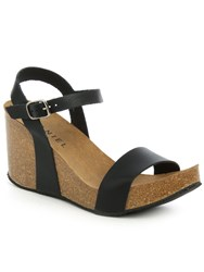 Daniel Ryther Corked Wedge Sandals Black