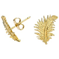 Dower And Hall Small 18Ct Gold Vermeil Feather Stud Earrings