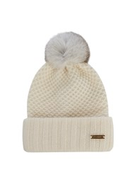 Burberry Fur Pompom Wool And Cashmere Blend Beanie Hat Cream