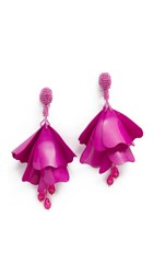 Oscar De La Renta Impatiens Flower Clip On Drop Earrings Fuchsia