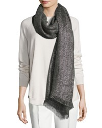 Brunello Cucinelli Metallic Rectangle Scarf Gray