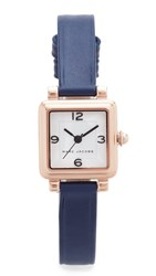 Marc Jacobs Vic Leather Watch Rose Gold Silvery White Navy