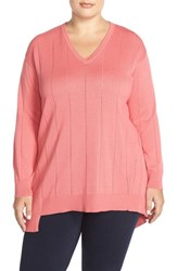 Plus Size Women's Vince Camuto Asymmetrical V Neck Sweater Coral Sugar