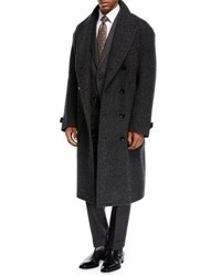 Tom Ford Plaid Double Breasted Overcoat Charcoal