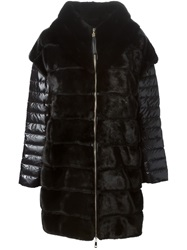 Liska Layered Padded And Fur Coat Black