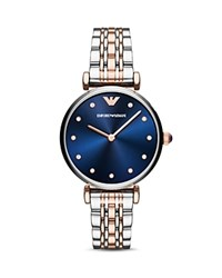 Emporio Armani Two Hand Two Tone Stainless Steel Watch 32 X 36 Mm Blue Silver
