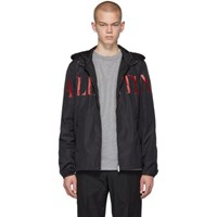 Valentino Black And Red Logo Zip Jacket