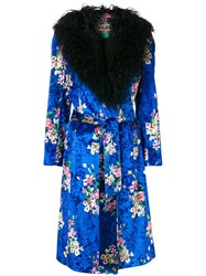 Duro Olowu Floral Print Wrap Dress Blue