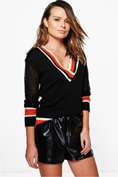Boohoo Sports Stripe V Neck Cricket Jumper Black