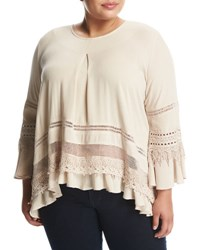 Cirana Plus Lace Inset Bell Sleeve Top Neutral Pattern