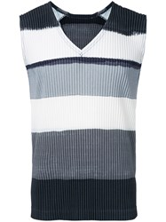 Homme Plisse Issey Miyake Pleated Tank Top Men Polyester 2 Grey
