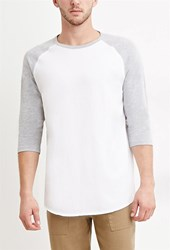 Forever 21 Cotton Blend Baseball Tee White Heather Grey
