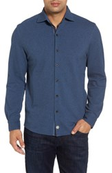Thaddeus Men's Shandy Heathered Knit Sport Shirt Denim