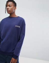 Systvm Chest Logo Crew Neck Sweatshirt Navy