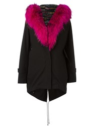 Forte Couture Open Hooded Parka Coat Black