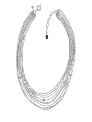 Karl Lagerfeld Safety Pin 5Mm Pearl And Crystal Multi Chain Necklace Silver
