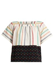 Ace And Jig Vista Square Neck Embroidered Stripe Cotton Top White Multi