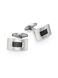 Lotus 18K Yellow Gold And Stainless Steel Cuff Links Silver