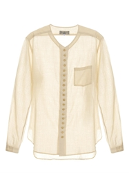 Yohji Yamamoto V Neck Cotton And Linen Blend Shirt