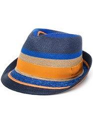 Etro Stripe Panel Hat Blue